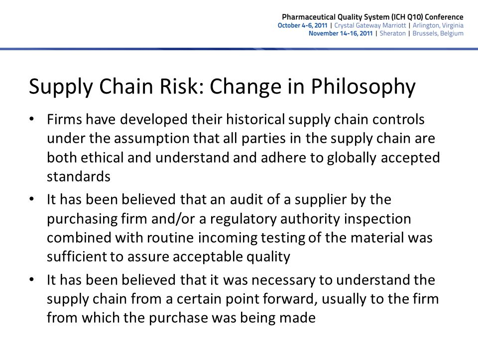 Supply Chain Risk: Change in Philosophy