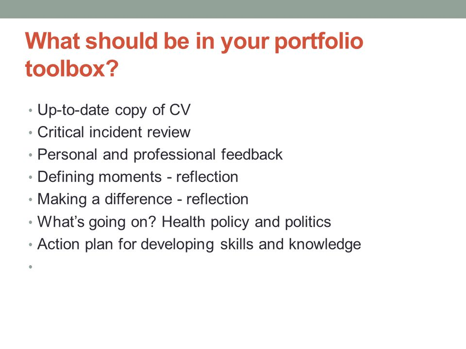 What should be in your portfolio toolbox