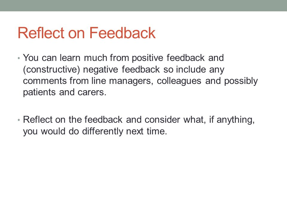 Reflect on Feedback