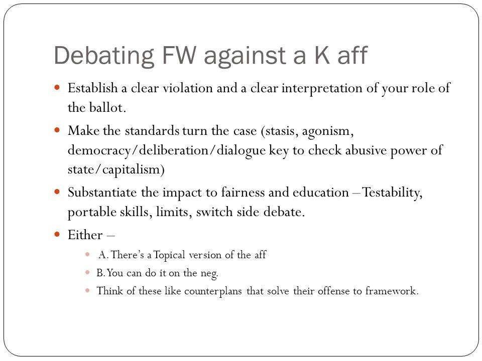 Debating FW against a K aff