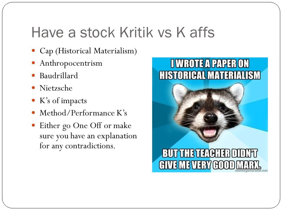 Have a stock Kritik vs K affs