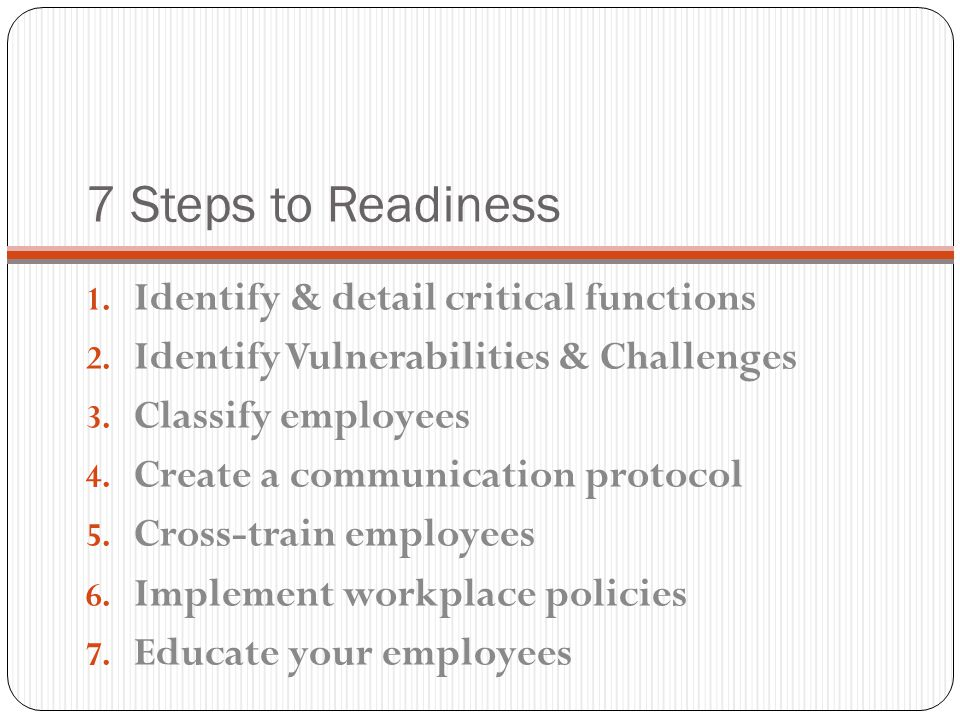 7 Steps to Readiness Identify & detail critical functions