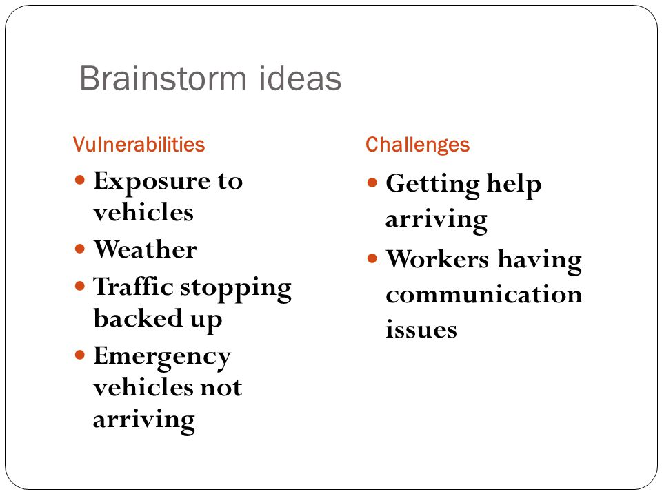 Brainstorm ideas Exposure to vehicles Weather