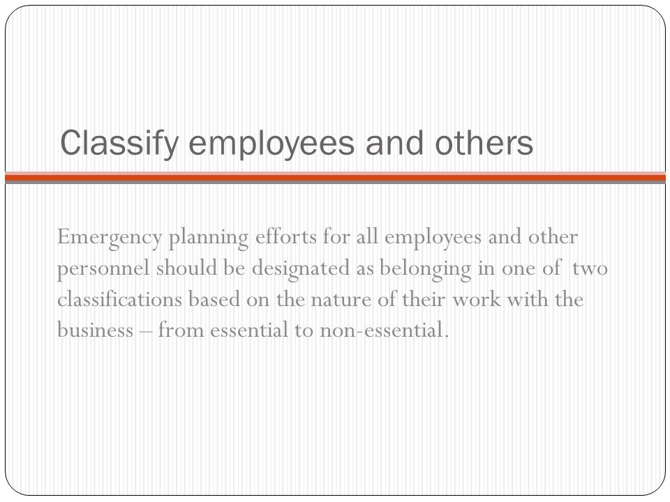 Classify employees and others