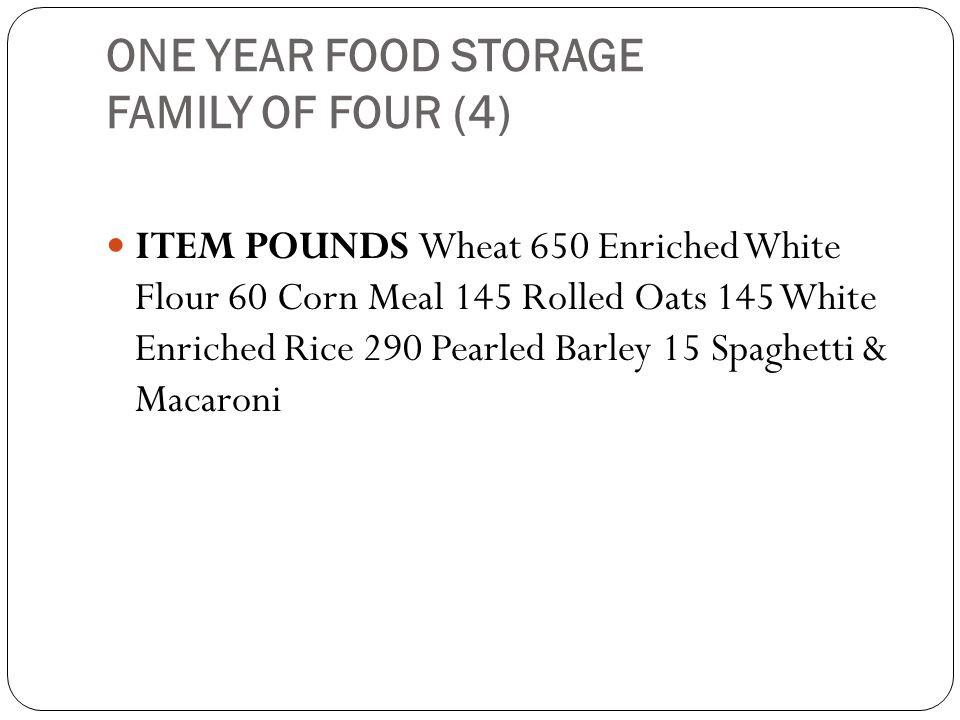 ONE YEAR FOOD STORAGE FAMILY OF FOUR (4)