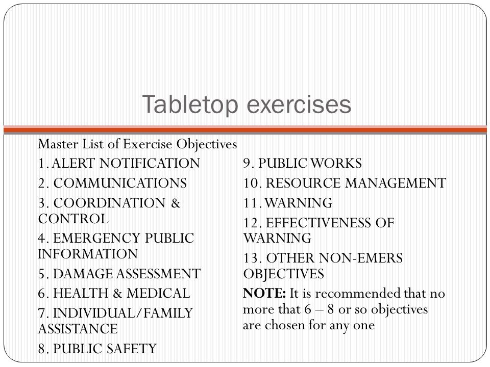Tabletop exercises Master List of Exercise Objectives