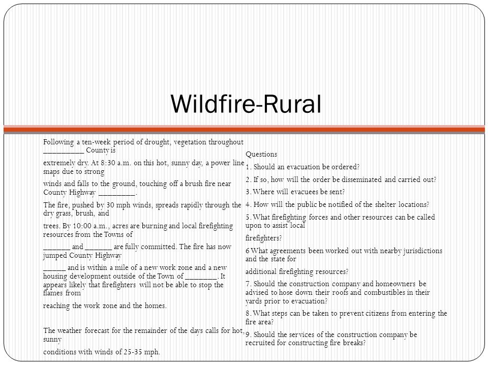 Wildfire-Rural Following a ten-week period of drought, vegetation throughout _________ County is. Questions.