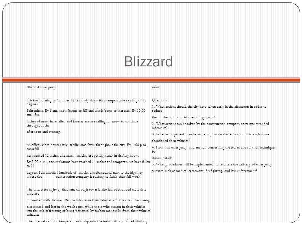 Blizzard Blizzard Emergency