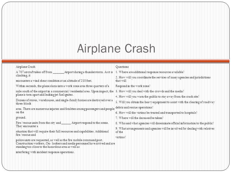 Airplane Crash Airplane Crash Questions
