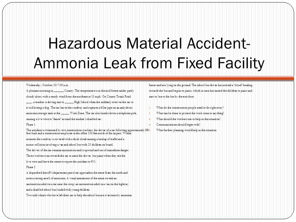 Hazardous Material Accident-Ammonia Leak from Fixed Facility