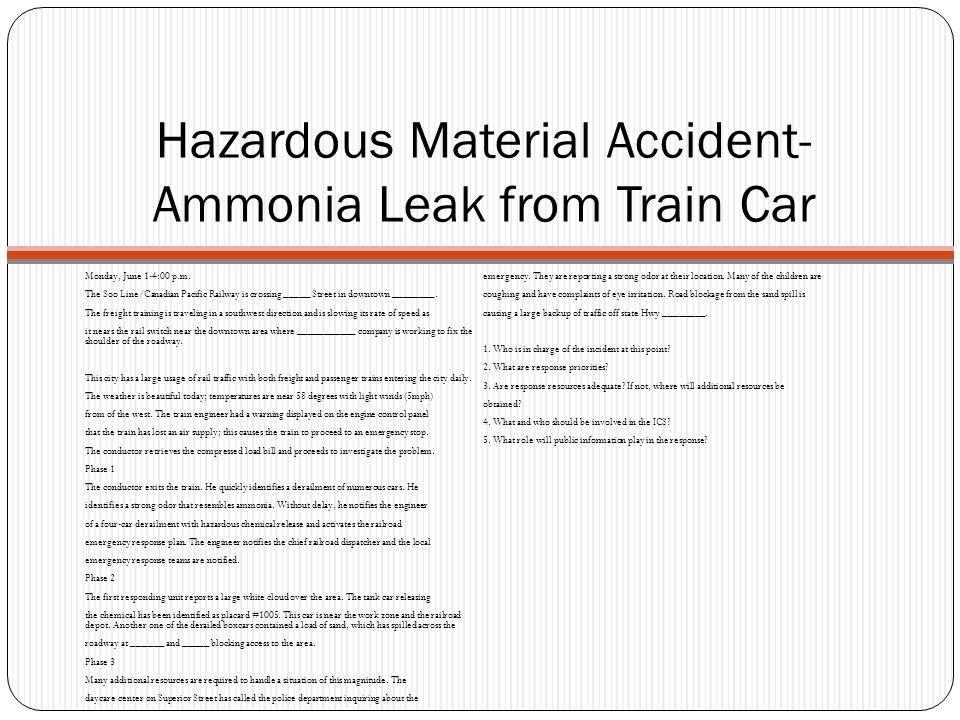 Hazardous Material Accident-Ammonia Leak from Train Car