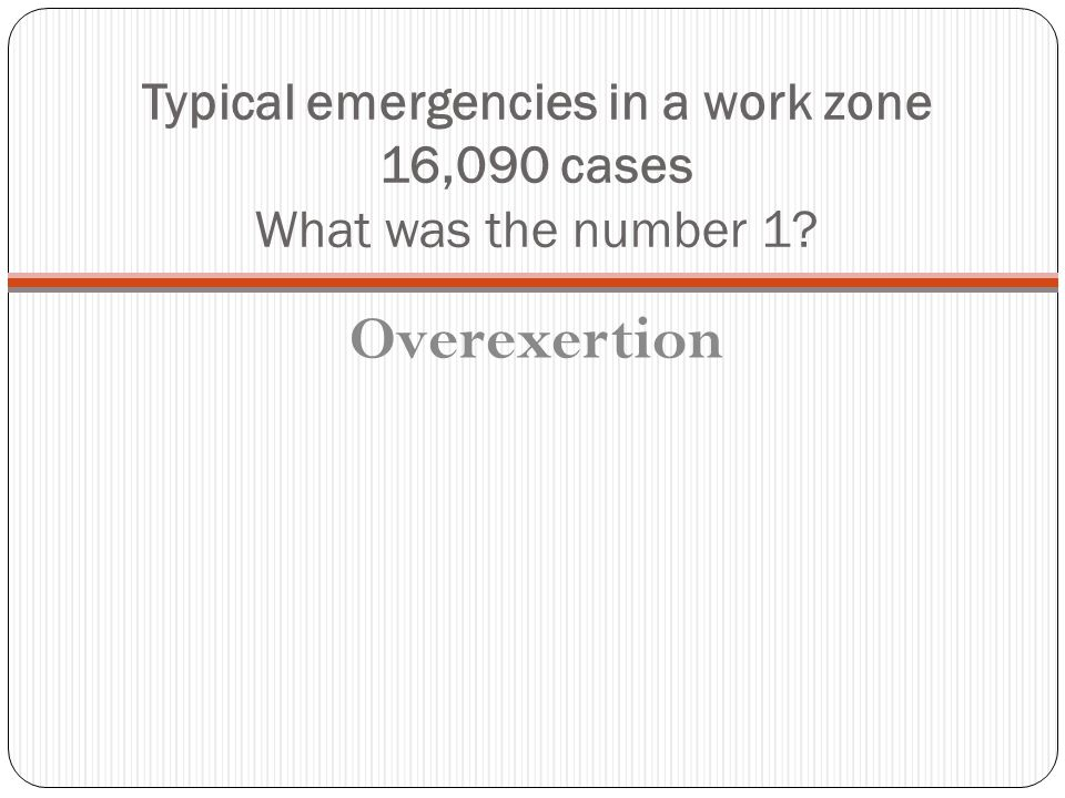 Typical emergencies in a work zone 16,090 cases What was the number 1