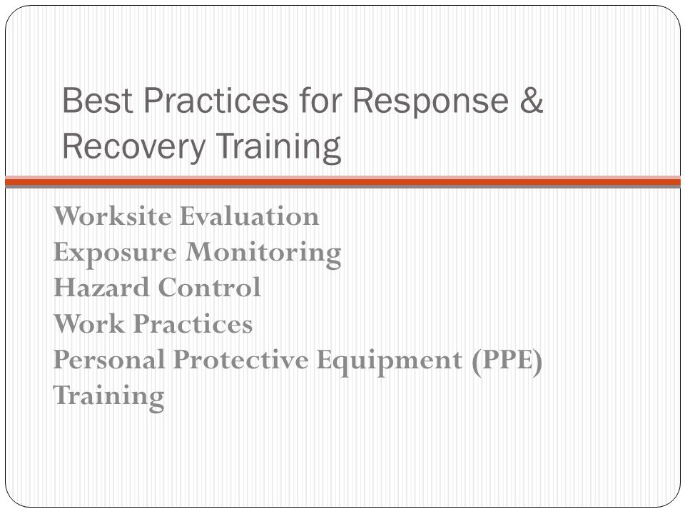 Best Practices for Response & Recovery Training