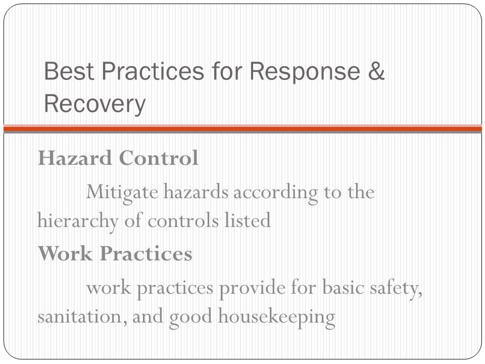 Best Practices for Response & Recovery