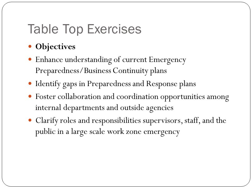 Table Top Exercises Objectives