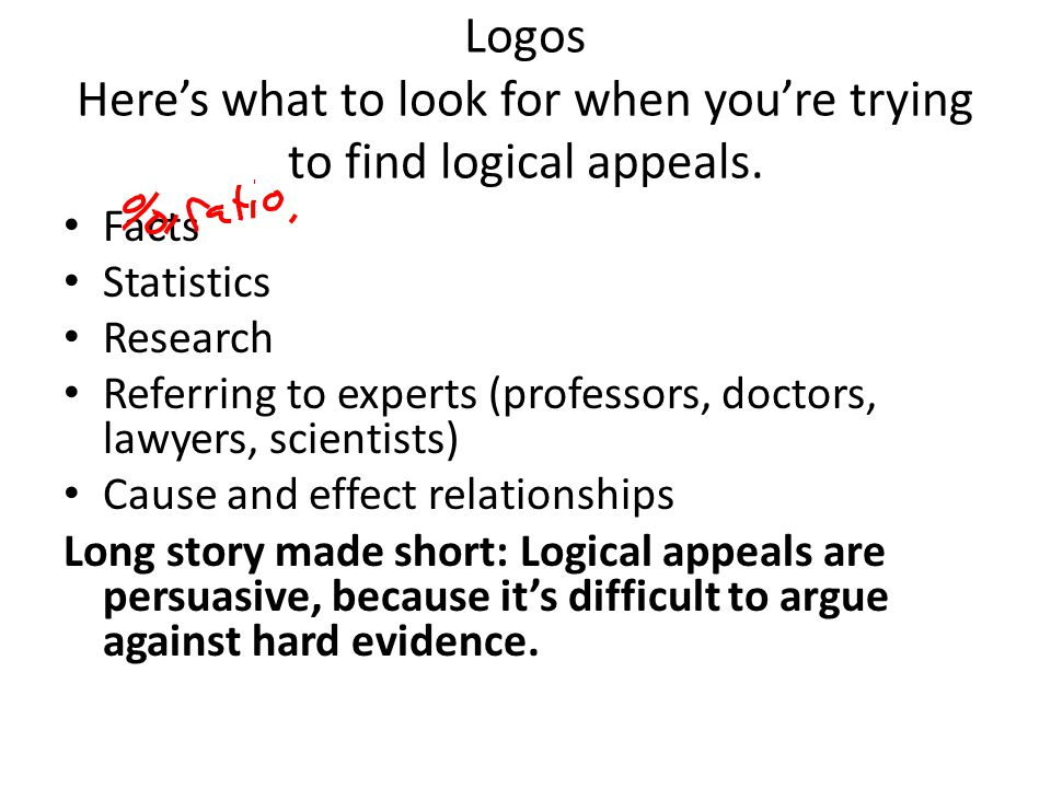 Logos Here's what to look for when you're trying to find logical appeals.