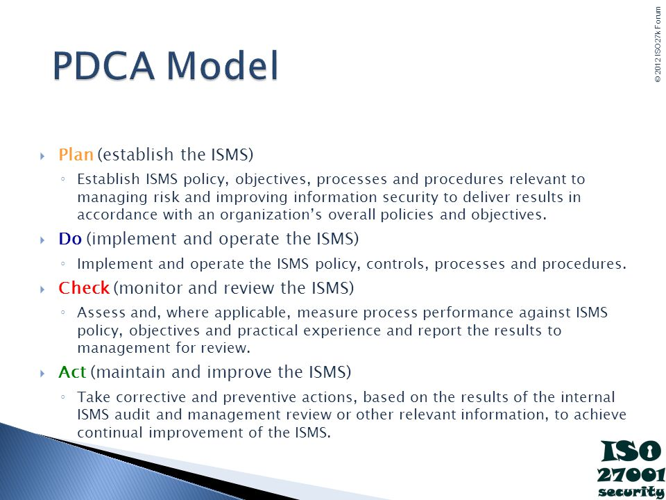 PDCA Model Plan (establish the ISMS)