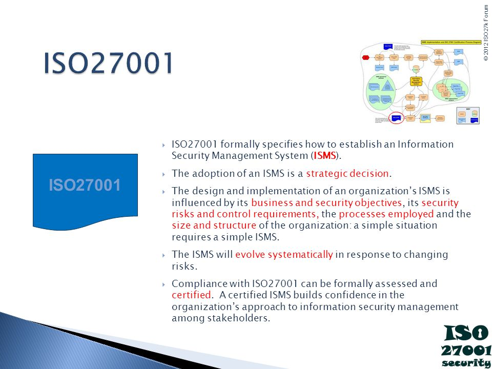 ISO27001 ISO27001 formally specifies how to establish an Information Security Management System (ISMS).