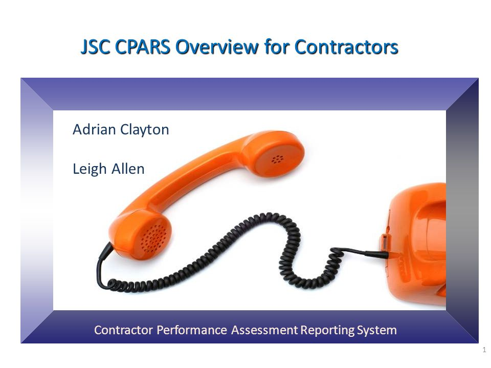 JSC CPARS Overview for Contractors