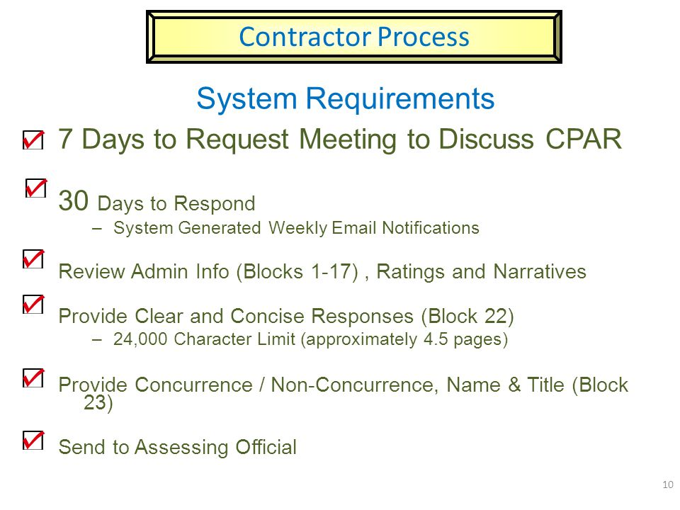 Contractor Process System Requirements