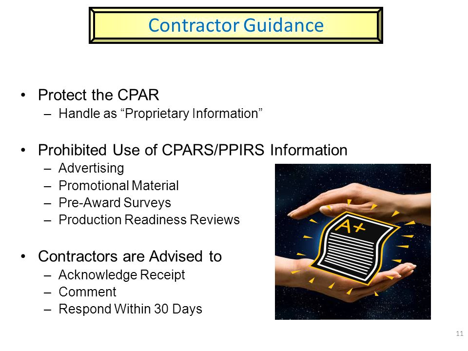 Contractor Guidance Protect the CPAR