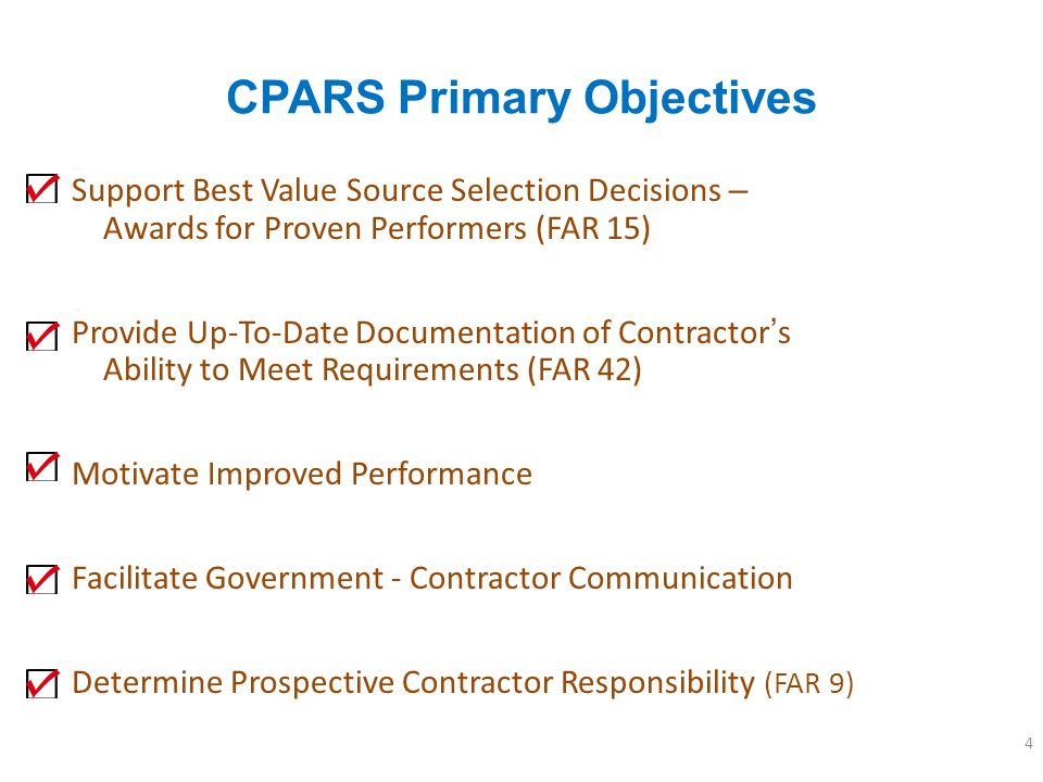 CPARS Primary Objectives