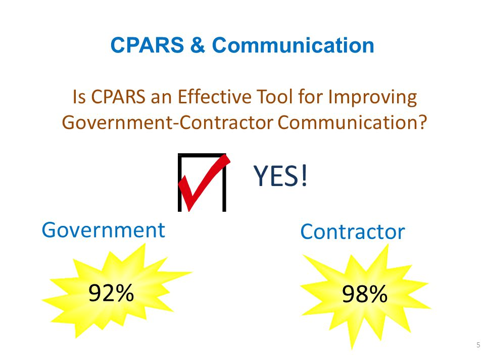 YES! 92% 98% Government Contractor CPARS & Communication