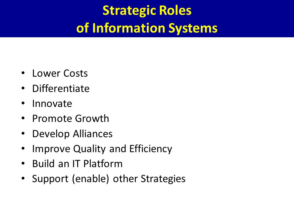 Strategic Roles of Information Systems