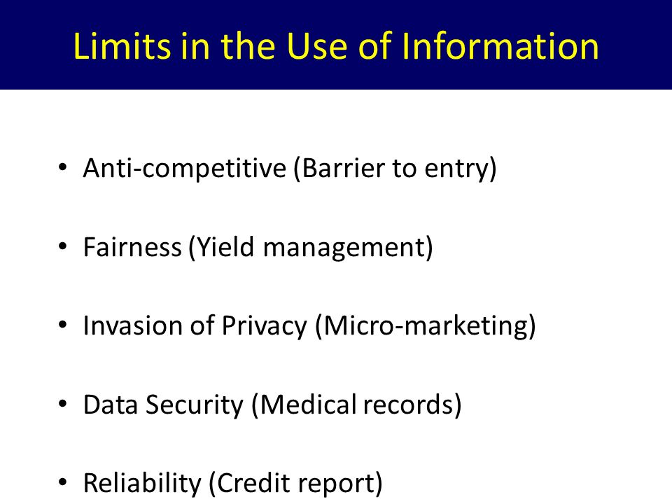 Limits in the Use of Information