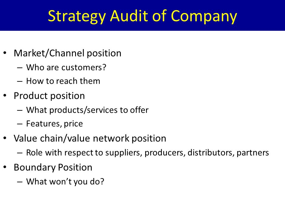 Strategy Audit of Company