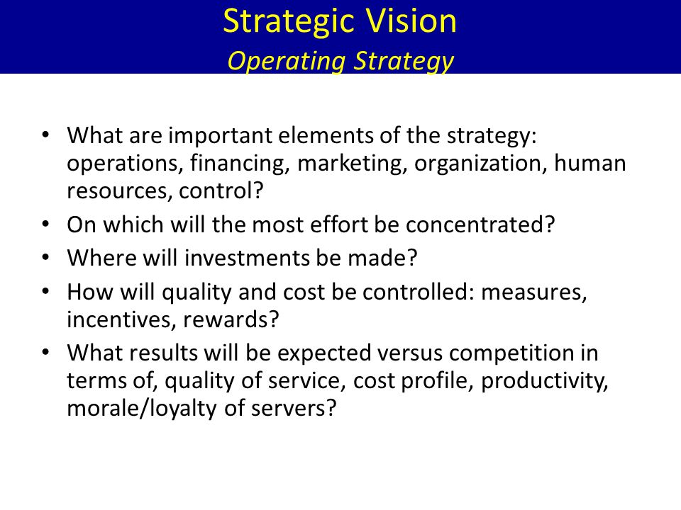 Strategic Vision Operating Strategy