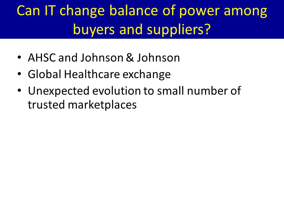 Can IT change balance of power among buyers and suppliers