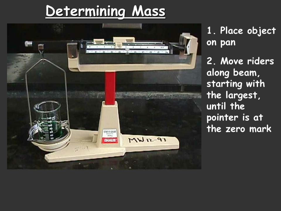 Determining Mass 1. Place object on pan