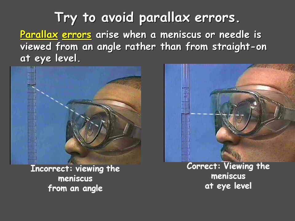 Try to avoid parallax errors.