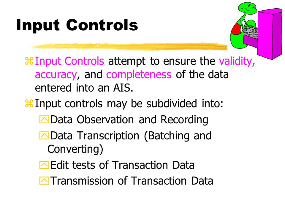 Input Controls Input Controls attempt to ensure the validity, accuracy, and completeness of the data entered into an AIS.