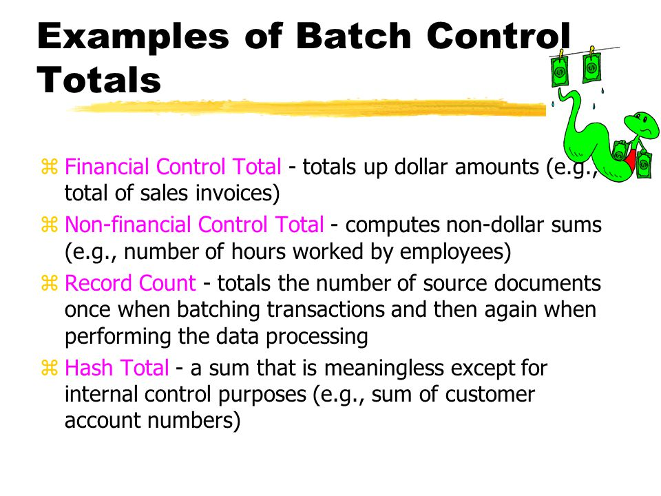 Examples of Batch Control Totals