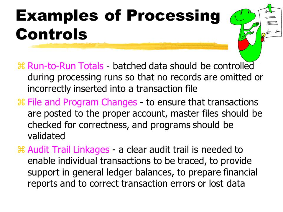 Examples of Processing Controls