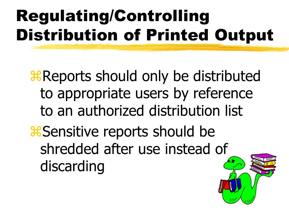 Regulating/Controlling Distribution of Printed Output