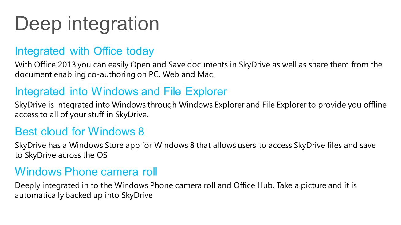 Deep integration Integrated with Office today