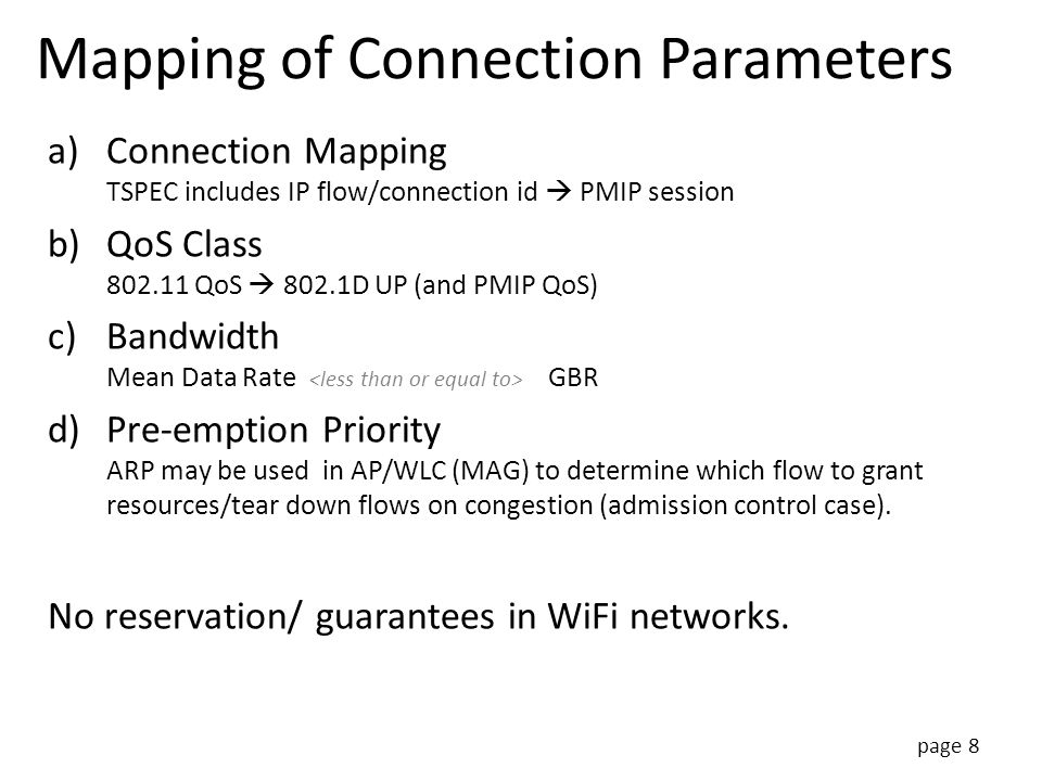 Mapping of Connection Parameters