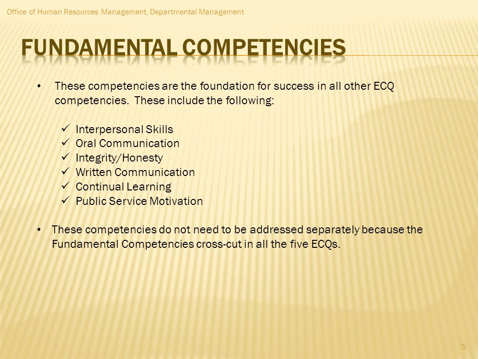 Fundamental competencies