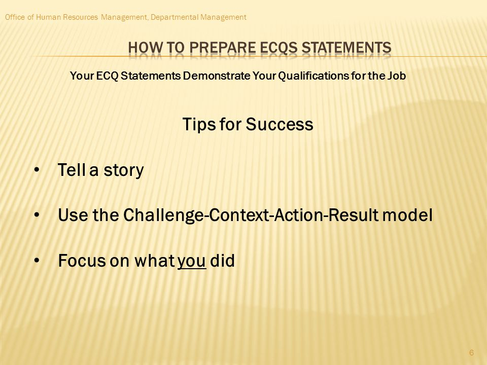 How to Prepare ECQs statements