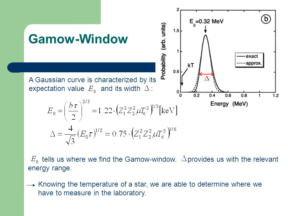 Gamow-Window D. A Gaussian curve is characterized by its expectation value and its width :
