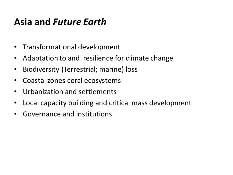 Asia and Future Earth Transformational development