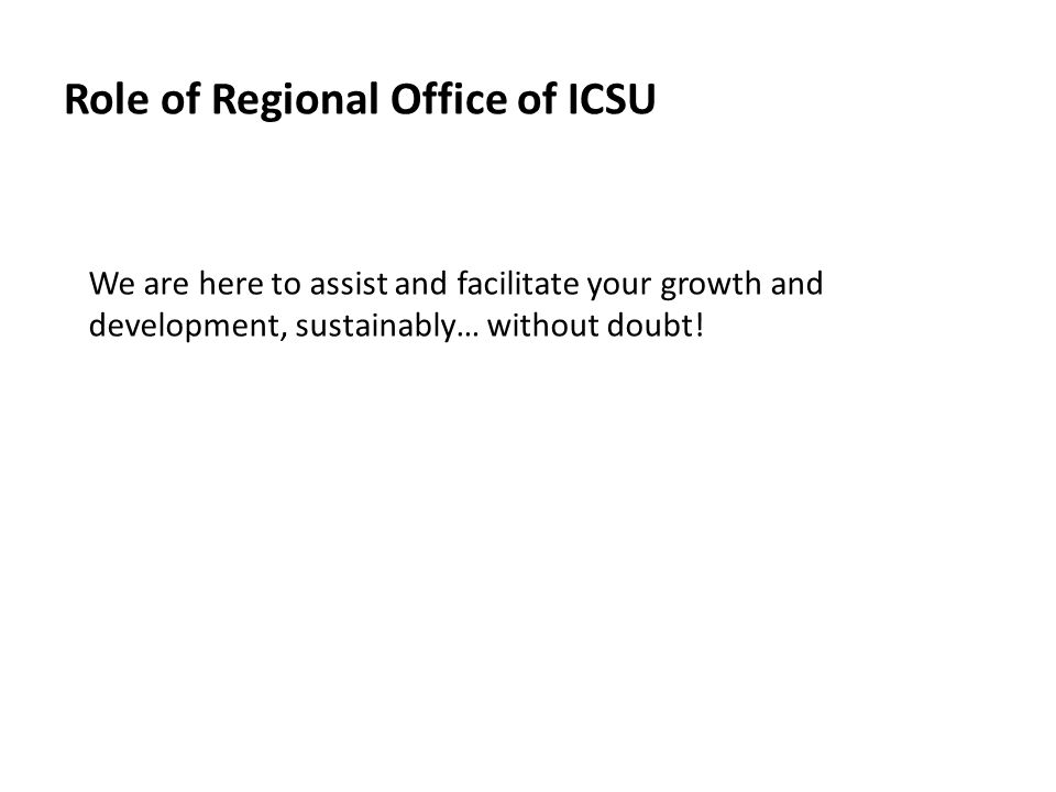 Role of Regional Office of ICSU