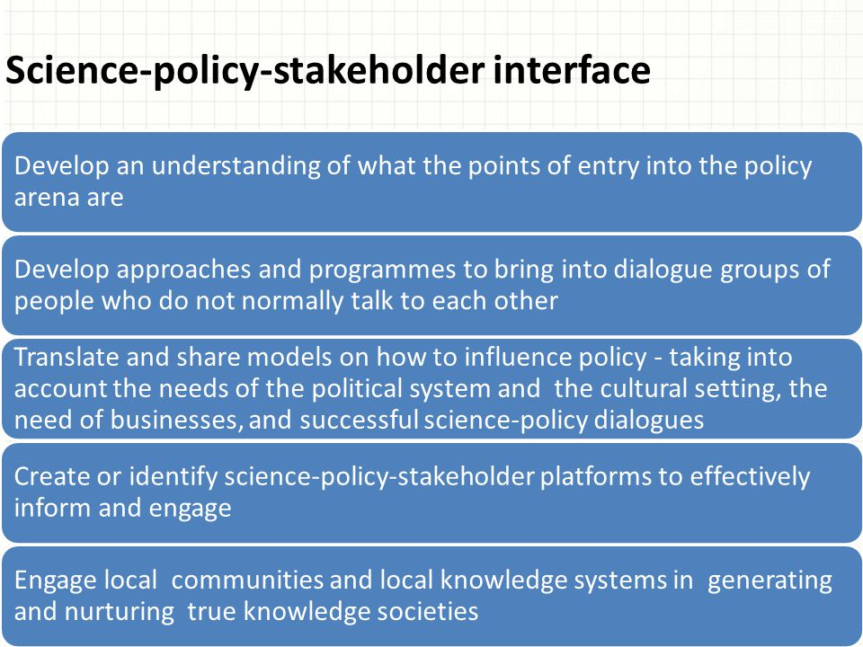 Science-policy-stakeholder interface