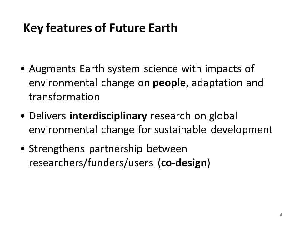 Key features of Future Earth