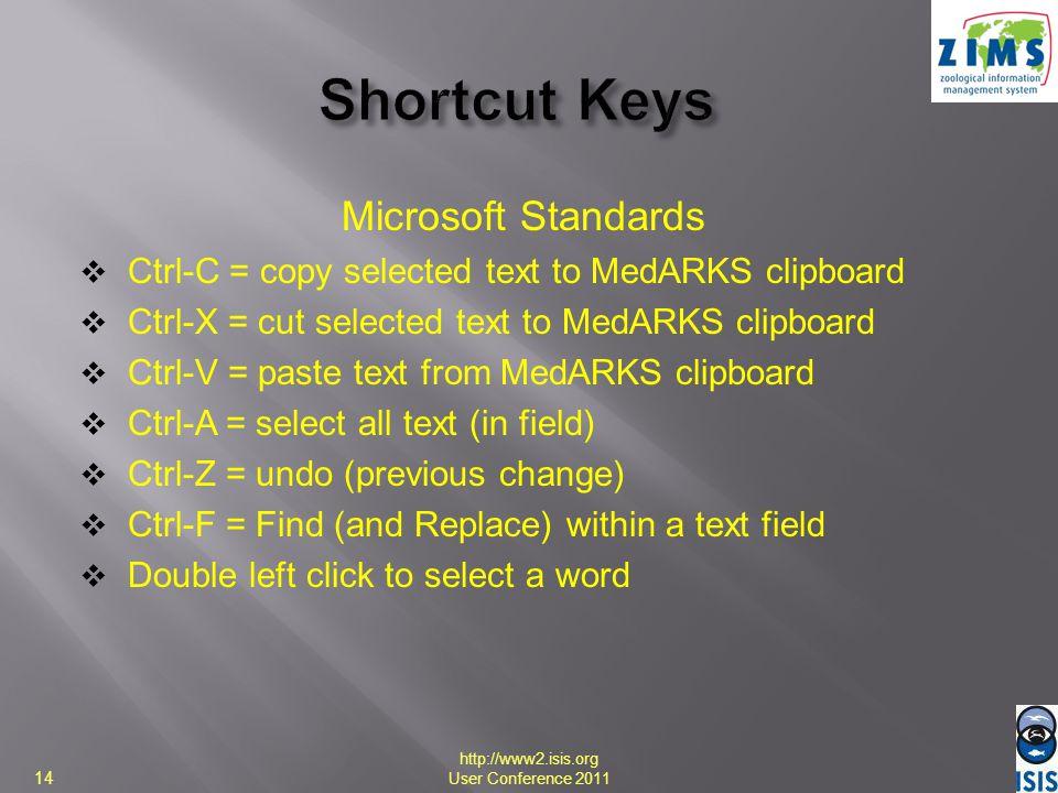 Shortcut Keys Microsoft Standards