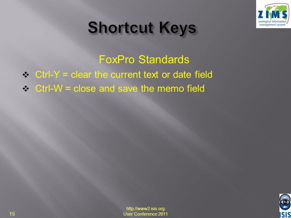 Shortcut Keys FoxPro Standards