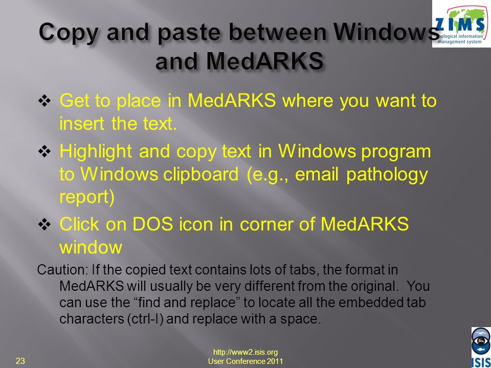Copy and paste between Windows and MedARKS